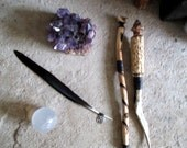 Crow Wing Feather With Pentacle Charm. Dark Moon Goddess Morrigan / Morgana Rituals, Spells. Quill, Smudger, Altar piece.