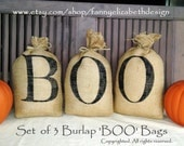 Ready to Ship! 3 Small Burlap BOO Bags-Halloween Decorations-Burlap Halloween-Burlap Pillows-Halloween