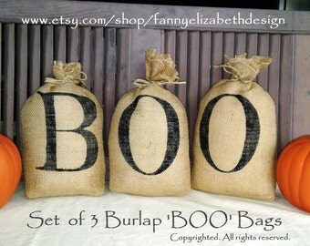 Ready to Ship! 3 Small Burlap BOO Bags-Halloween Decorations-Burlap Halloween-Burlap Pillows-Halloween