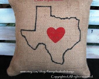 Small StatePillow- Valentine's Day-Valentine Gift- Valentine's Day Gift-State Pillow-Burlap State Pillow-Heart Pillow-Burlap Heart Pillows