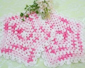 Crocheted Hot Pads, Pot Holders, Handmade Pot Holders, Variegated Pink and White, Pink Kitchen Decor, Vintage Linens by TheSweetBasilShoppe
