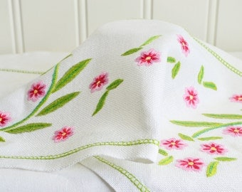 Linen table runner with embroidery in pink and green,vintage Swedish linen, hand embroidered tablerunner, satin stitch