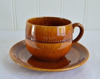 Tea cup with saucer Old Hoganas, vintage Swedish ceramics, Höganäs keramik