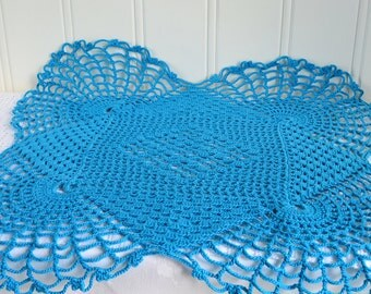 "Turquoise crochet doily, vintage Swedish seventies home decor, handmade in Sweden, 14 "" tablecloth"