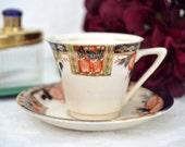 Hughes Longport England Teacup And Saucer Set, Wedding Gift, English Bone China Tea Cup Set, ca. 1957