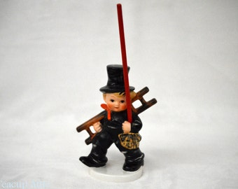 Goebel Chimney Sweep Boy Figurine, Goebel Brezelhalte Pretzel Holder Chimney Sweep Figurine, Goebel KF 38, ca. 1979-1990
