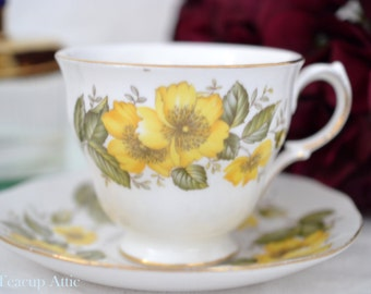 Royal Vale Teacup and Saucer Set Yellow Flowers, Pattern 8610,  English Bone China Tea Cup, Garden Tea Party,  ca. 1962-1964