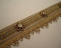 French Blue & Antique Gold French PASSEMENTERIE Loop Fringe Braid w/ Rosettes - Imported from France - 5 yds - 50 YARDS AVAILABLE