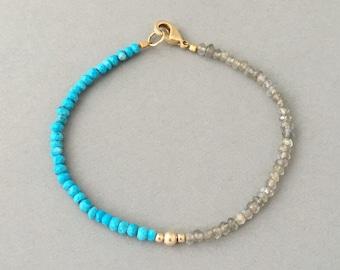 Labradorite Disc Beaded Gold Bracelet