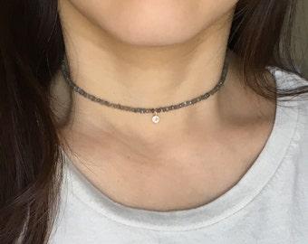 Gray Labradorite Choker Necklace