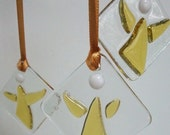 Little Golden Angel Decorations in Fused Glass - Set of 3