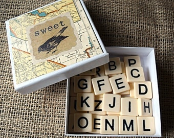 Alphabet Ceramic Tiles in Vintage Chic Gift Box - Entire Alphabet + Vowels - 31 pieces - Bananagrams Game - Assemblage, Mixed Media Supplies