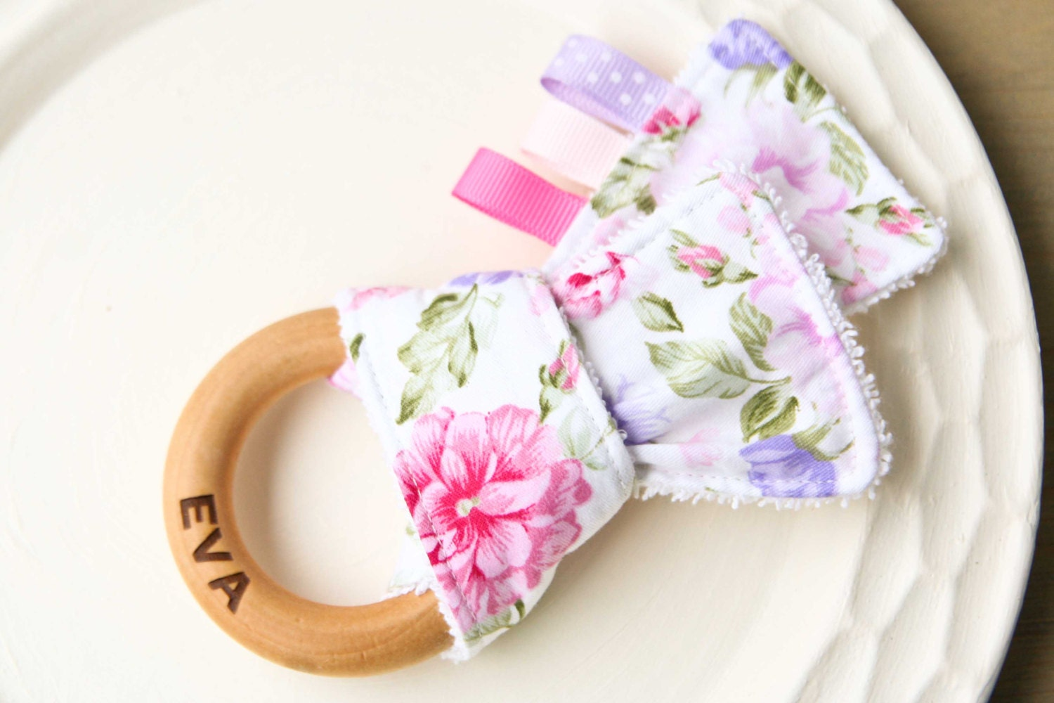 Personalized Teether Floral Cotton Wooden Teething Ring