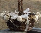Rustic Flower Girl Basket with Preserved Babys Breath Sola Flowers Woodland Country Wedding Basket See Item Details Tab