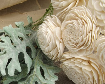 Set of 6 Stemmed Sola Flowers Natural Ivory Set of 6 Sola Zinnia 2""