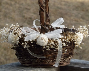 Rustic Flower Girl Basket with Preserved Babys Breath Sola Flowers Woodland Country Wedding Basket See Item Details Tab Made to Order