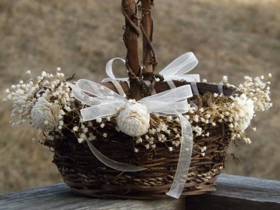 Rustic Flower Girl Basket With Preserved Babys Breath Sola Flowers