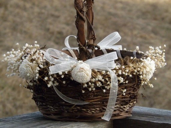 Flower Baskets Wedding : Rustic flower girl basket with preserved babys breath sola