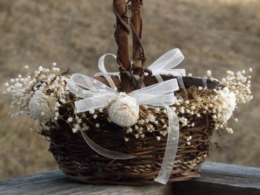 Flower Girl Basket Montreal : Rustic flower girl basket with preserved babys breath sola