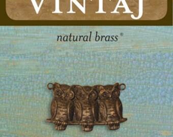 Vintaj 22x11.5mm Perched Owls (1 pc/pkg)