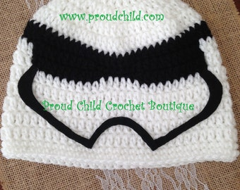 Storm Trooper Hat Crocheted