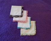 Vintage Handkerchiefs Set of 4 Crocheted  Hankie Gift for Her