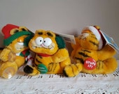 Vintage Garfield Christmas Plush Animal Toy Set of 3 1980's Cartoon Character Scrooge