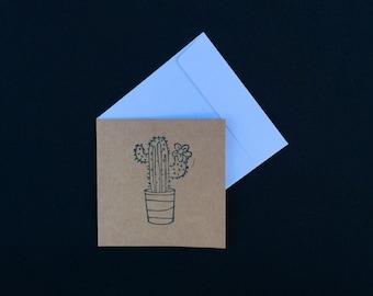 Hand stamped Cactus Kraft Mini Stationery Card Set