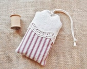 Red Ticking and Lace, Organic Lavender Sachet