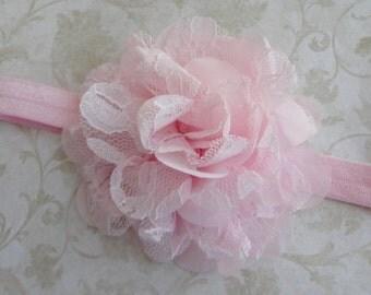 Baby Headband, Pink Lace & Chiffon Headband, Infant Headband, Girls Headband, Flower Headband, Baby Bow Headband