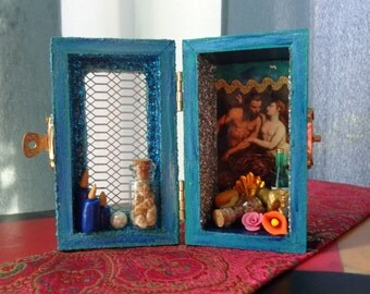 Poseidon Mini Box Shrine. Miniature Nicho.  Travel Altar. Shadow Box. Neptune. Mixed Media Altered Art.