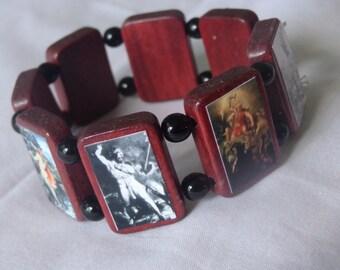 Thor Wooden Devotional Bracelet. Pagan Polytheist Heathen Devotional Jewelry