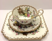 Vintage Aynsley Pagoda Three Piece Tea Set  John Aynsley Tea Cup with Saucer and Plate Tea Cup Trio