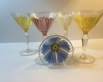 Handpainted Decorative Cordial or Liqueur  Glasses Painted Inside and Outside of Glass Set of Five