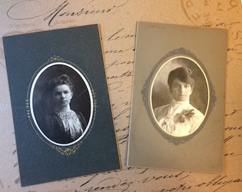 Antique Photo Cabinet Card Set of Two Beautiful Ladies 1900 Vintage Photographs Female Photographer  New Ulm MN