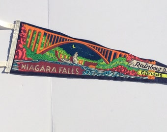 Vintage Souvenir Pennant Niagra Falls Rainbow Bridge Canada Tourist Attraction Memorabilia Vintage Felt Pennant