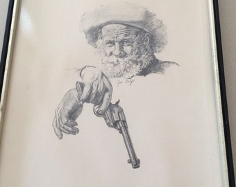 "Vintage Jim Daly Pencil Sketch Print ""The Watch"", Rare,  Western Art Cowboy With Gun Framed American Artist, Black and White"