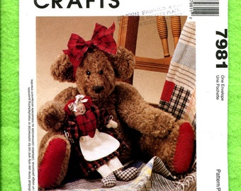 McCall's 7981 Sweet Teddy Bear & Rag Doll Pattern UNCUT