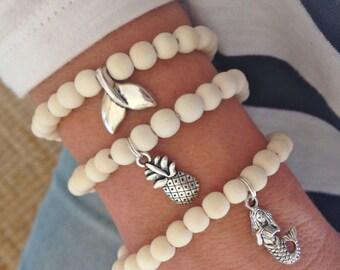 beach bracelet, mermaid jewelry, beach jewelry, pineapple bracelet, beachcomber boho bracelet