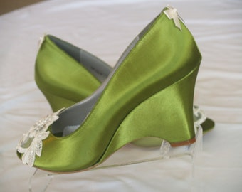 Wedge Green Shoes with beautiful appliqués, peep toes, wedding shoes, olive green satin, bridesmaids
