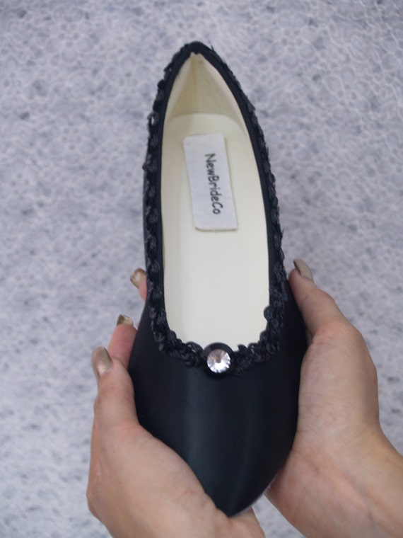 wedding flats shoes black satin dressy comfortable goth wedding