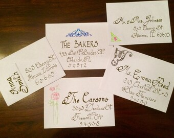 Hand calligraphy invitations for weddings, showers, and birthdays!