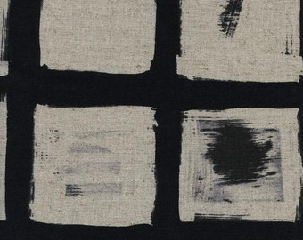 Black and White 2016 - Woodblock - Linen/Cotton Canvas - Melody Miller for Cotton + Steel - (5061-12) - 1/2 Yard