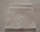 Vintage White Cotton Maderia Lace Pillow Cases, Set of 2, Hand Embroidered, Vintage Bed Linens, Wedding Gift, Circa 1960's.