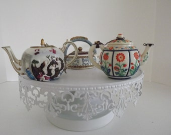 Three Nini Miniature Collectible Teapots, Blue & White 6-21, Naples 6-7 ,Japanese Kakiemon 6-15, Hand Painted, Circa 1970's
