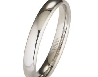 4MM White Tungsten Wedding Band Ring Sizes 4 to 10 Dome