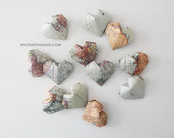 12 texture map balloon hearts || origami heart favors || map theme wedding || gifts for map lovers -the world