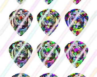 Tiger Glow Jazz Style Pick Images 4x6 Digital Collage Sheet Wine Love Instant Download
