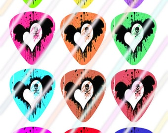 Skull Glow (#2) Guitar Picks Images 4x6 Digital Collage Sheet Wine Love Instant Download