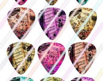 Music Sheet Glow Guitar Picks Images 4x6 Digital Collage Sheet Wine Love Instant Download